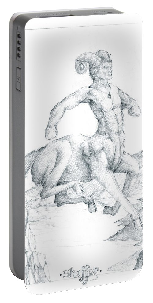 Centaur Portable Battery Charger featuring the drawing Chiron The Centaur by Curtiss Shaffer