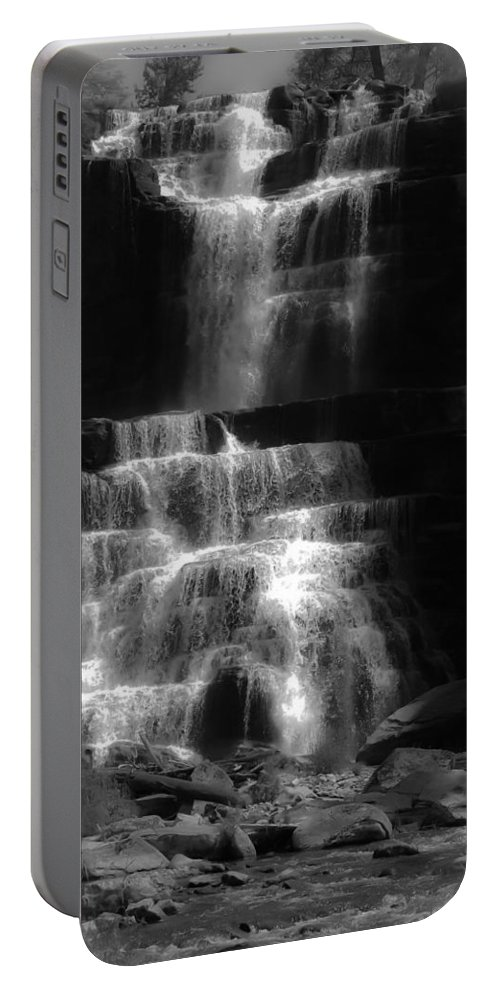 Chittenango Falls Portable Battery Charger featuring the digital art Chittenango Falls Bw by DigiArt Diaries by Vicky B Fuller
