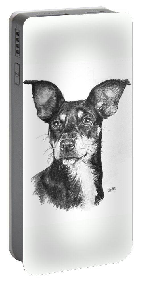 Designer Dog Portable Battery Charger featuring the drawing Chiweenie by Barbara Keith