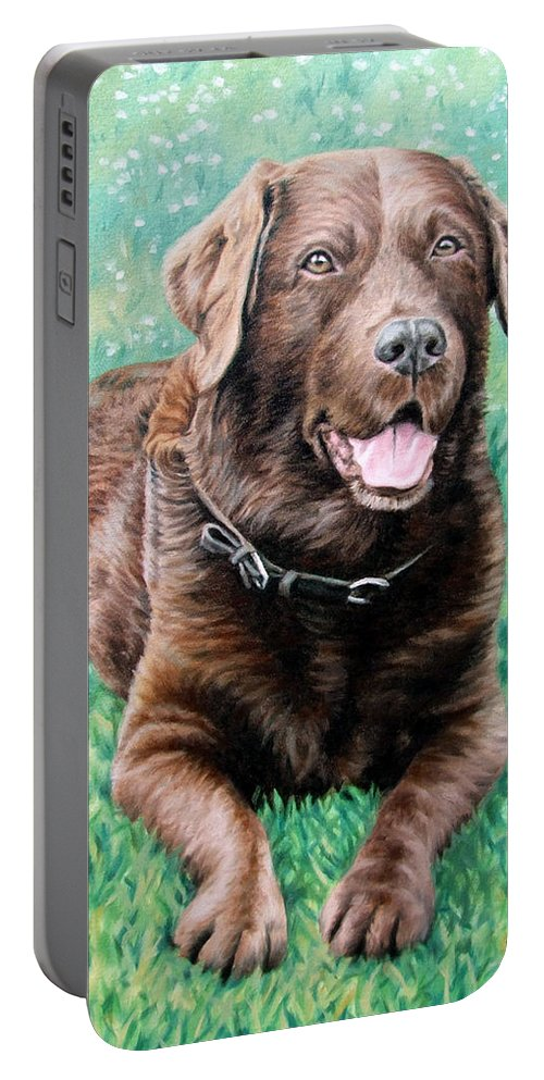 Dog Portable Battery Charger featuring the painting Choco Labrador by Nicole Zeug