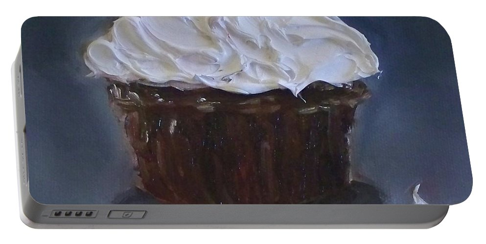 Chocolate Cupcake Portable Battery Charger featuring the painting Chocolate Cupcake With A Cherry by Kristine Kainer