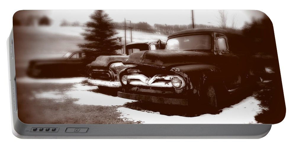 Old Cars Portable Battery Charger featuring the photograph Chocolate Ghosts by Jean Macaluso