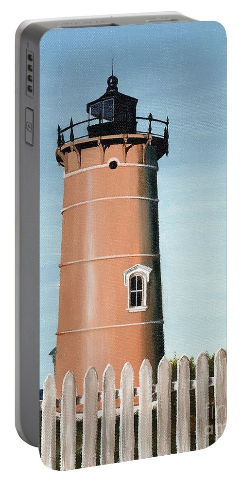 Lighthouse Portable Battery Charger featuring the painting Chocolate Lighthouse by Mary Rogers
