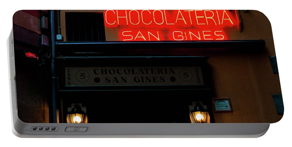 Spain Portable Battery Charger featuring the photograph Chocolateria by Rachel Mahoney