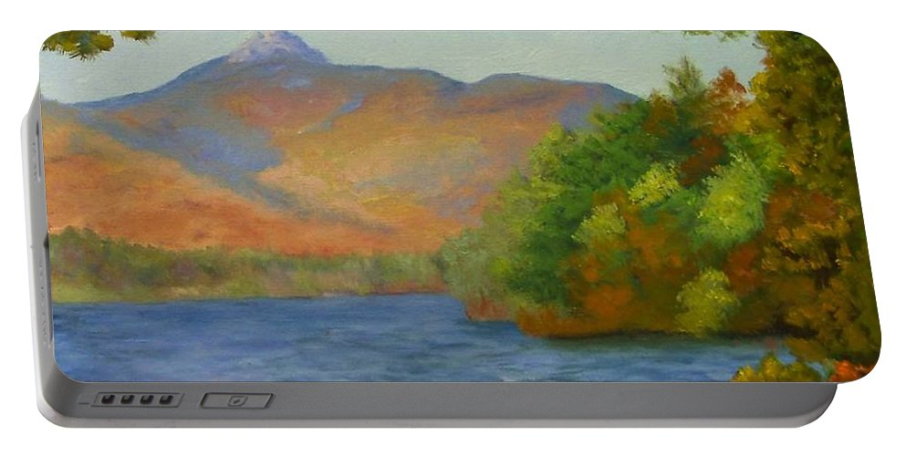 Mount Chocorua And Chocorua Lake Portable Battery Charger featuring the painting Chocorua by Sharon E Allen
