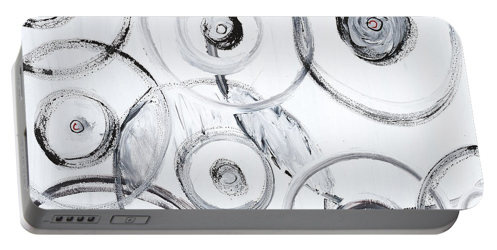Circles Portable Battery Charger featuring the painting Choices In White by Nadine Rippelmeyer