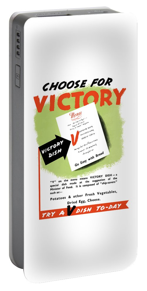 Conservation Portable Battery Charger featuring the painting Choose For Victory -- Ww2 by War Is Hell Store
