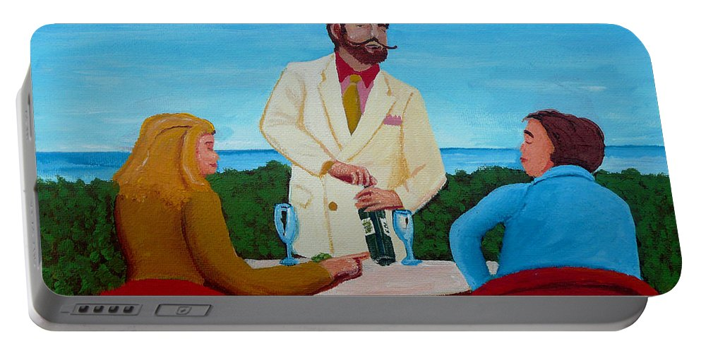 Wine Portable Battery Charger featuring the painting Choosing The Wine by Anthony Dunphy
