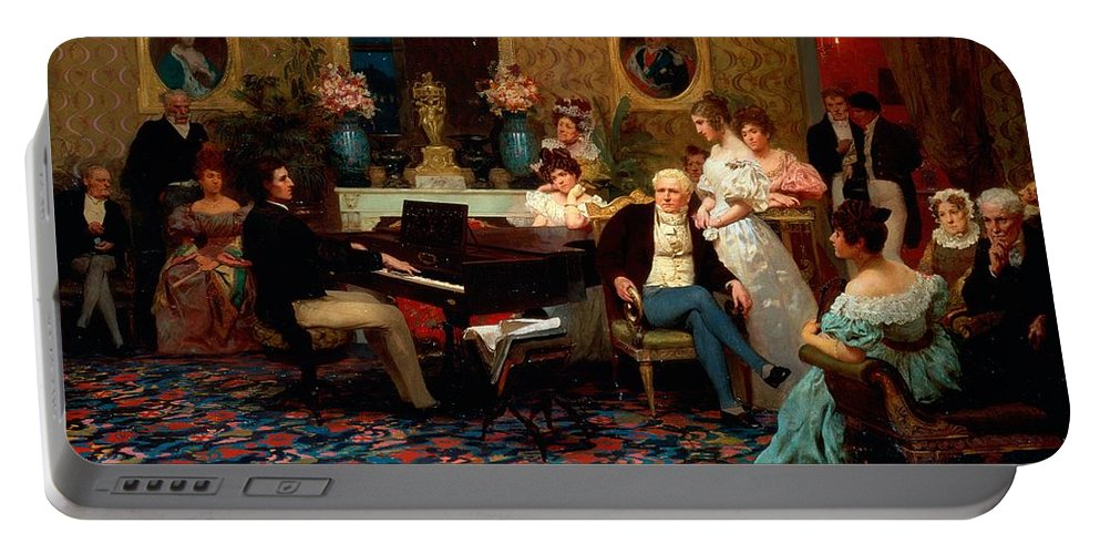 Piano Portable Battery Charger featuring the painting Chopin Playing The Piano In Prince Radziwills Salon by Hendrik Siemiradzki