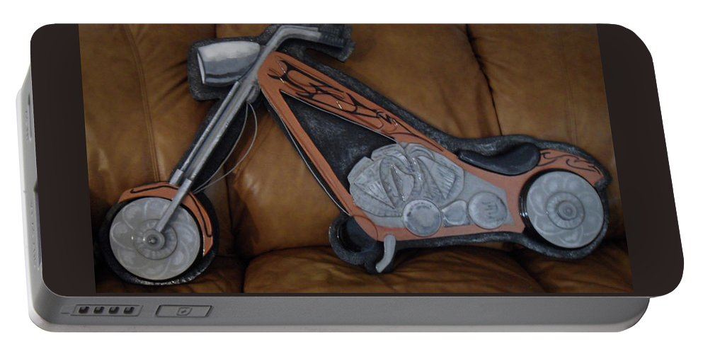 Chopper Portable Battery Charger featuring the sculpture Chopper by Val Oconnor
