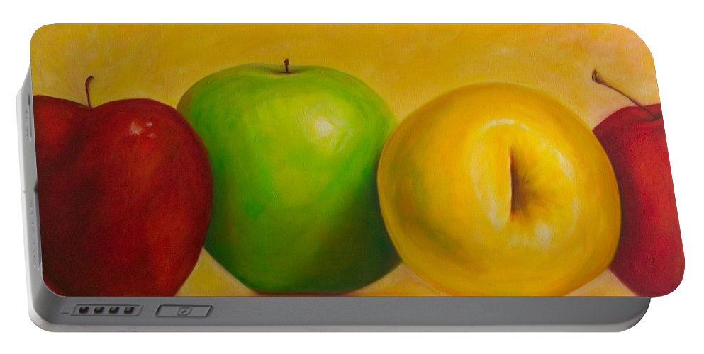 Still Life Portable Battery Charger featuring the painting Chorus Line by Shannon Grissom