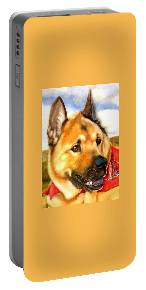 Chow Portable Battery Charger featuring the painting Chow Shepherd Mix by Marilyn Jacobson