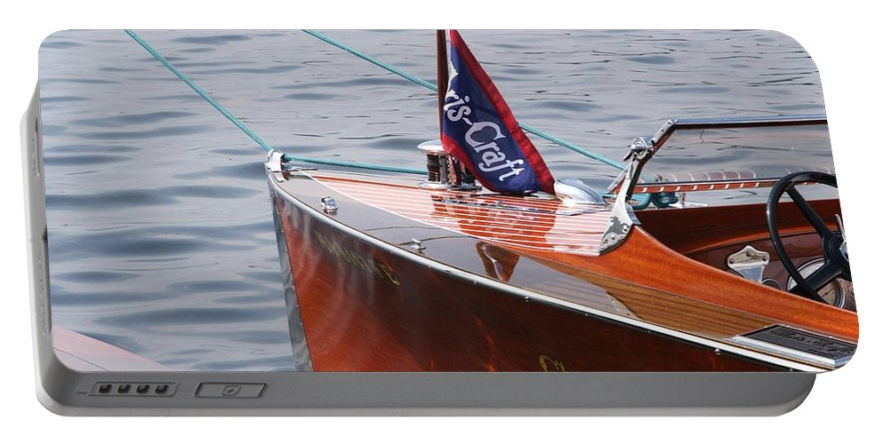 Chris Craft Portable Battery Charger featuring the photograph Chris Craft Runabout by Neil Zimmerman