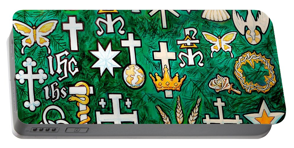 Chrismons Portable Battery Charger featuring the greeting card Chrismons by Kevin Middleton