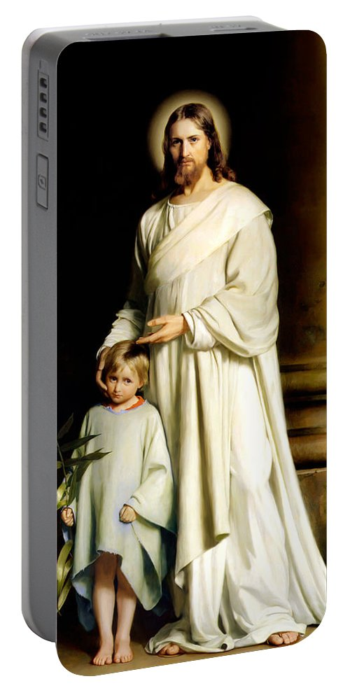 Christ And The Young Child Portable Battery Charger featuring the painting Christ And The Young Child by Carl Bloch