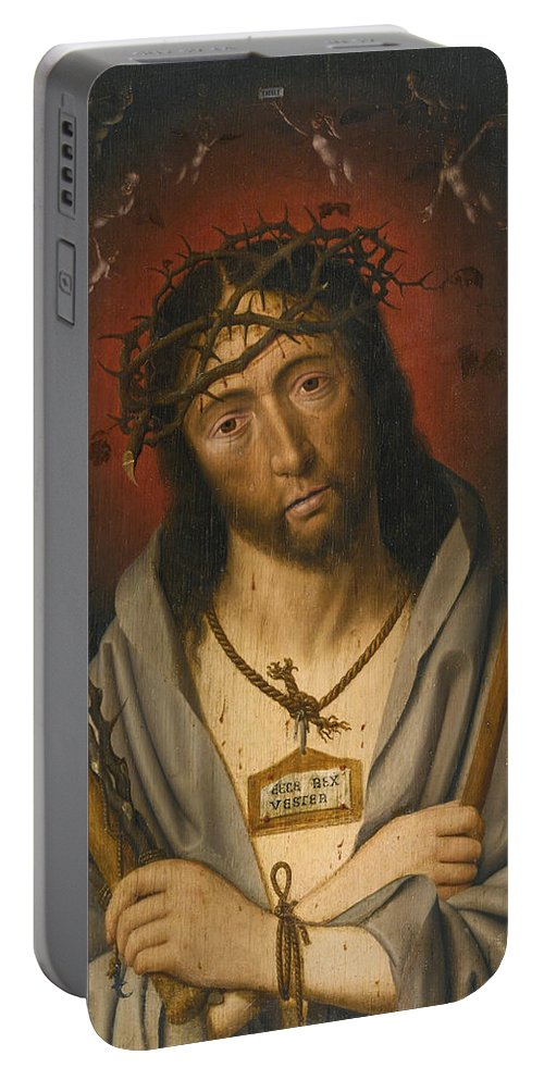 Circle Of Jan Mostaert Portable Battery Charger featuring the painting Christ As The Man Of Sorrows by Circle of Jan Mostaert