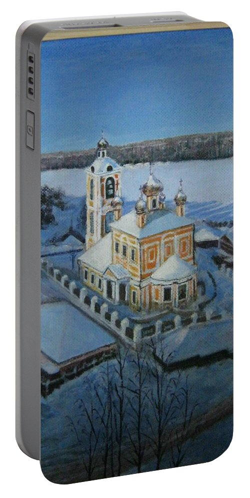 Christ Risen Church Portable Battery Charger featuring the painting Christ Risen Church In Ples, Ivanovo Region by Artyom Ukhov