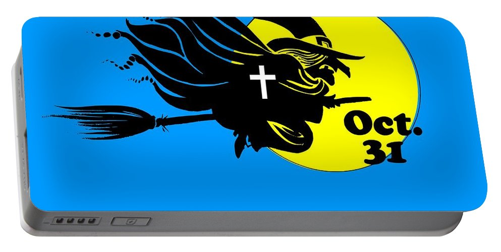 Religion Portable Battery Charger featuring the digital art Christian Halloween Witch by Frederick Holiday