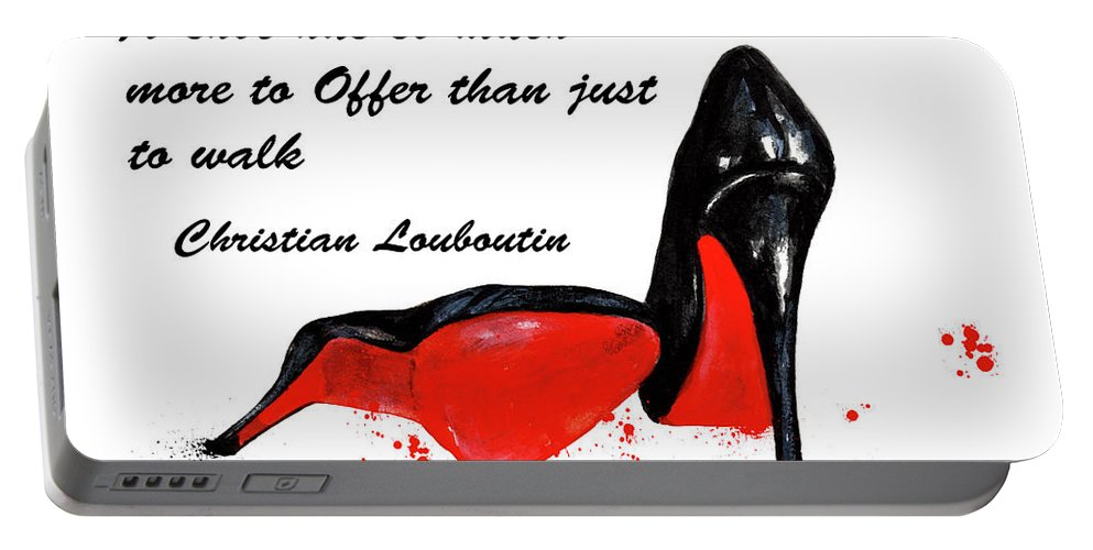 Christian Louboutin Portable Battery Charger featuring the painting Christian Louboutin Shoes 4 by Green Palace