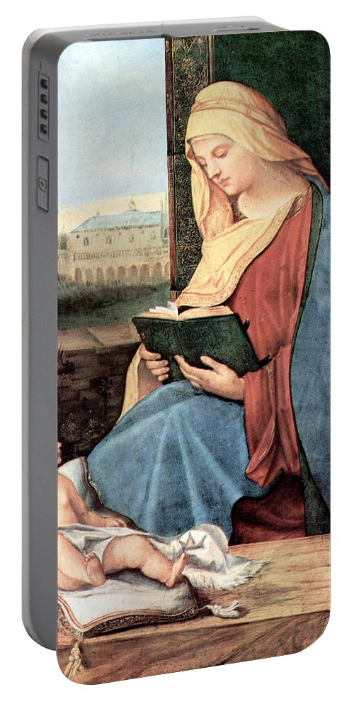 Mary Portable Battery Charger featuring the photograph Christianity - Reading Time by Munir Alawi