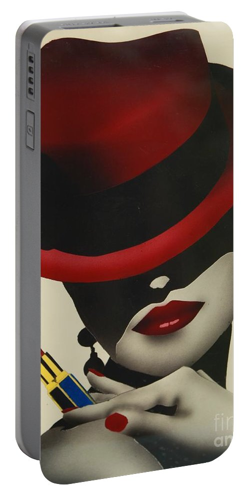 Christion Dior Red Hat Lady Portable Battery Charger featuring the painting Christion Dior Red Hat Lady by Jacqueline Athmann