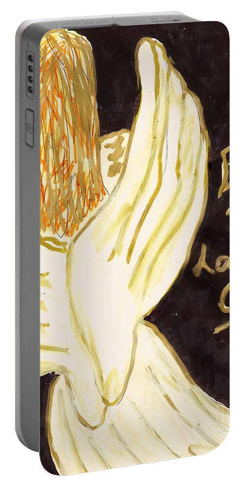 An Angel Announcing The Birth Of Christ Portable Battery Charger featuring the mixed media Christmas Angel by Elinor Rakowski