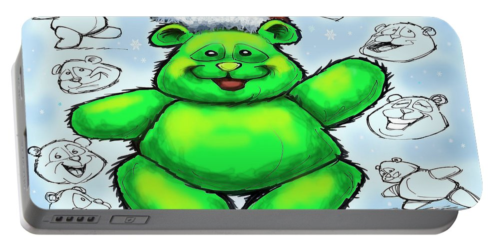 Christmas Portable Battery Charger featuring the greeting card Christmas Bear by Kevin Middleton