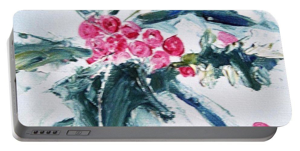 Holly Portable Battery Charger featuring the painting Christmas Berries by Angela Cartner