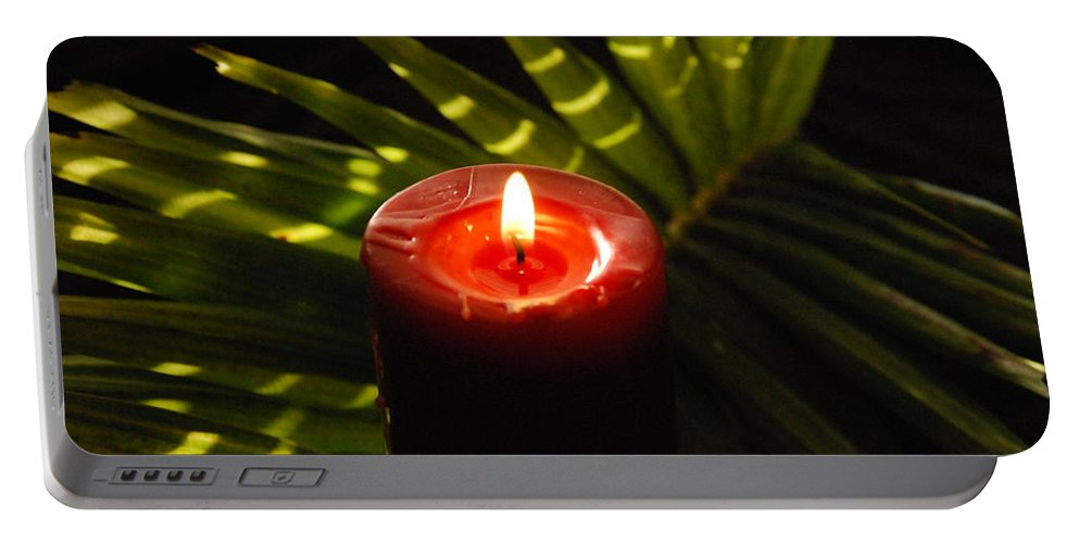Candle Portable Battery Charger featuring the photograph Christmas Candle by Susanne Van Hulst