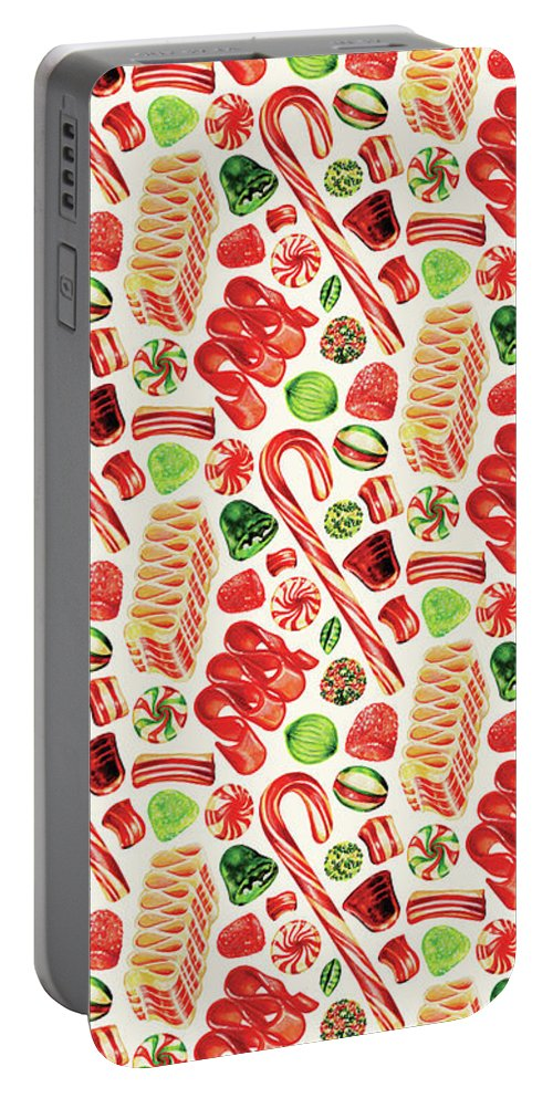Christmas Portable Battery Charger featuring the painting Christmas Candy by Kelly Gilleran