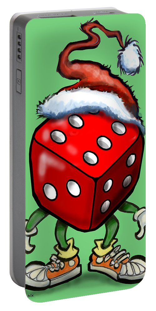 Christmas Portable Battery Charger featuring the greeting card Christmas Casino Party by Kevin Middleton