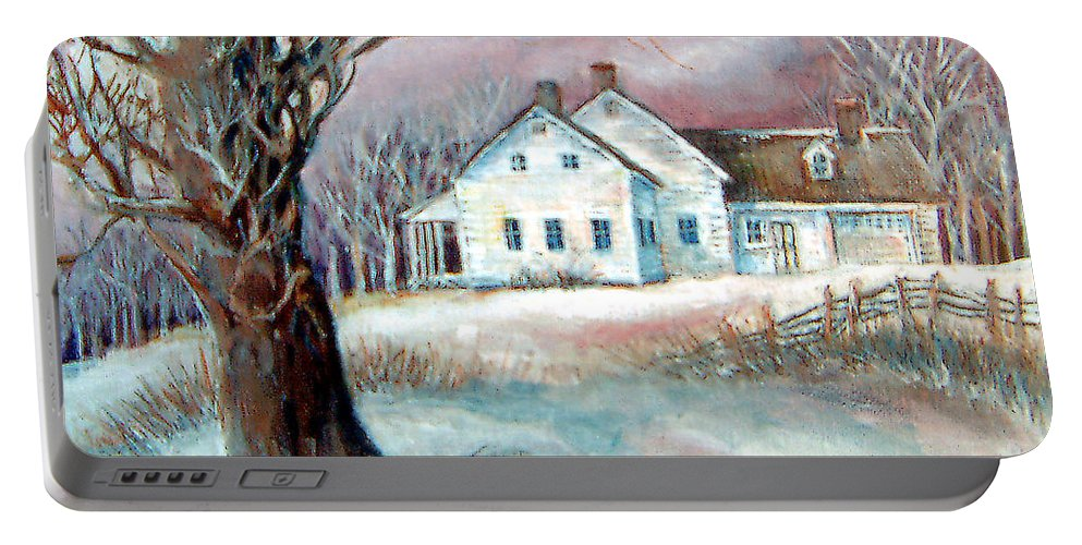 Snow Portable Battery Charger featuring the painting Christmas Destiny by Linda Shackelford