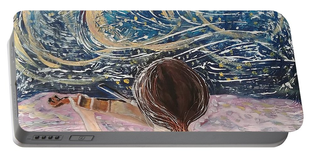 Angel Portable Battery Charger featuring the painting christmas Eve and a Starry Night by J Bauer