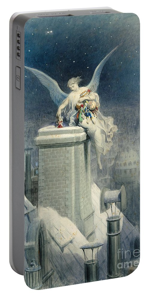 Christmas Portable Battery Charger featuring the painting Christmas Eve by Gustave Dore