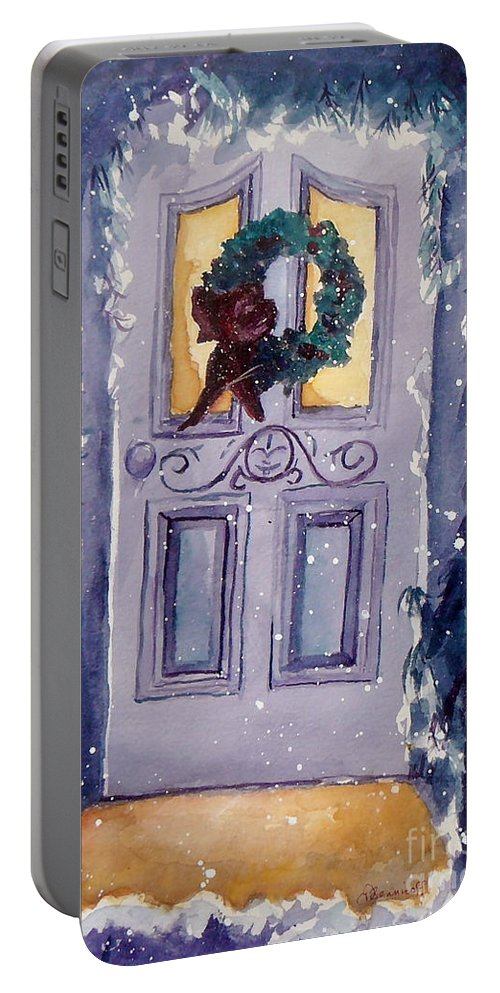 Holiday Scene Portable Battery Charger featuring the painting Christmas Eve by Jan Bennicoff