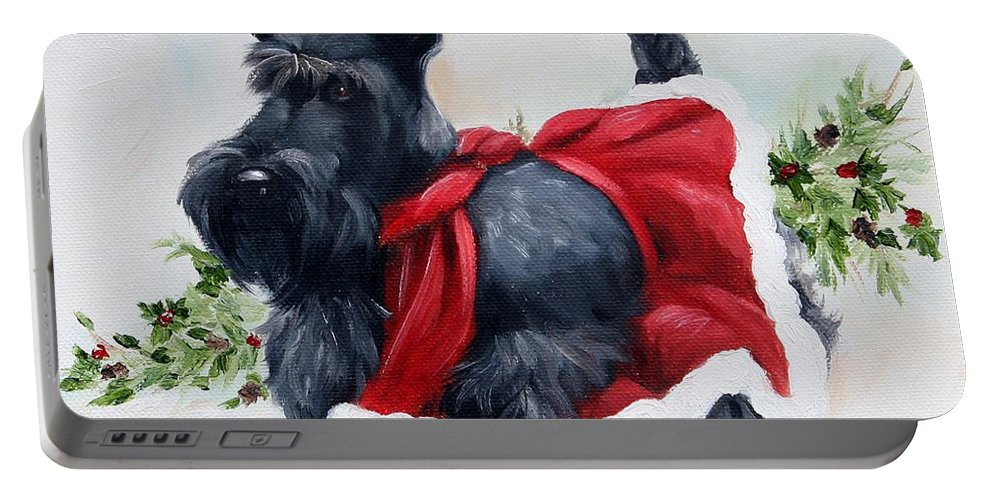 Art Portable Battery Charger featuring the painting Christmas by Mary Sparrow