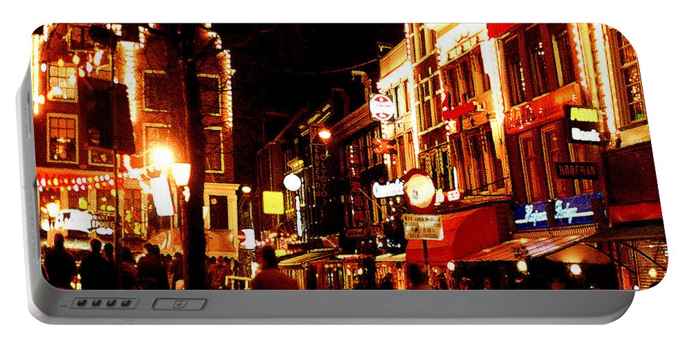 Night Portable Battery Charger featuring the photograph Christmas In Amsterdam by Nancy Mueller