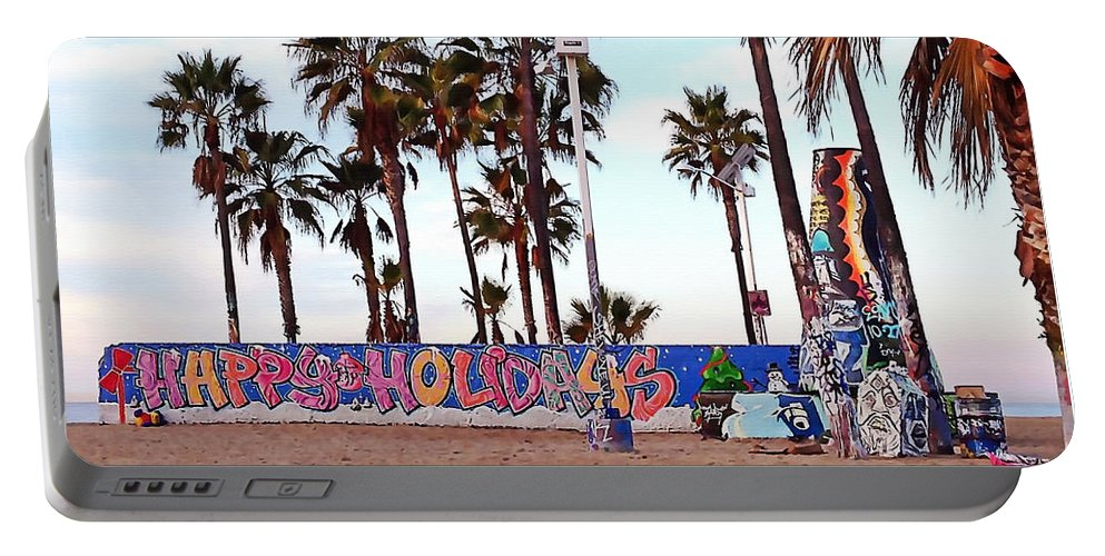 Venice Beach Portable Battery Charger featuring the photograph Christmas In Venice Beach by Art Block Collections