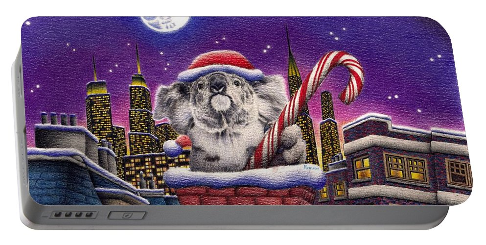 Koala Portable Battery Charger featuring the drawing Christmas Koala In Chimney by Remrov