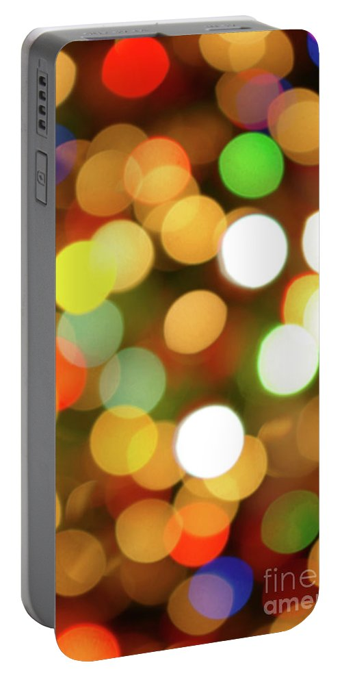 Abstract Portable Battery Charger featuring the photograph Christmas Lights by Carlos Caetano