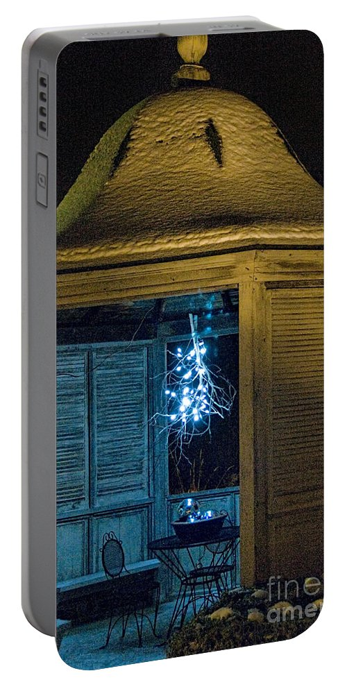 Christmas Lights Portable Battery Charger featuring the photograph Christmas Lights In Gazebo by David Arment
