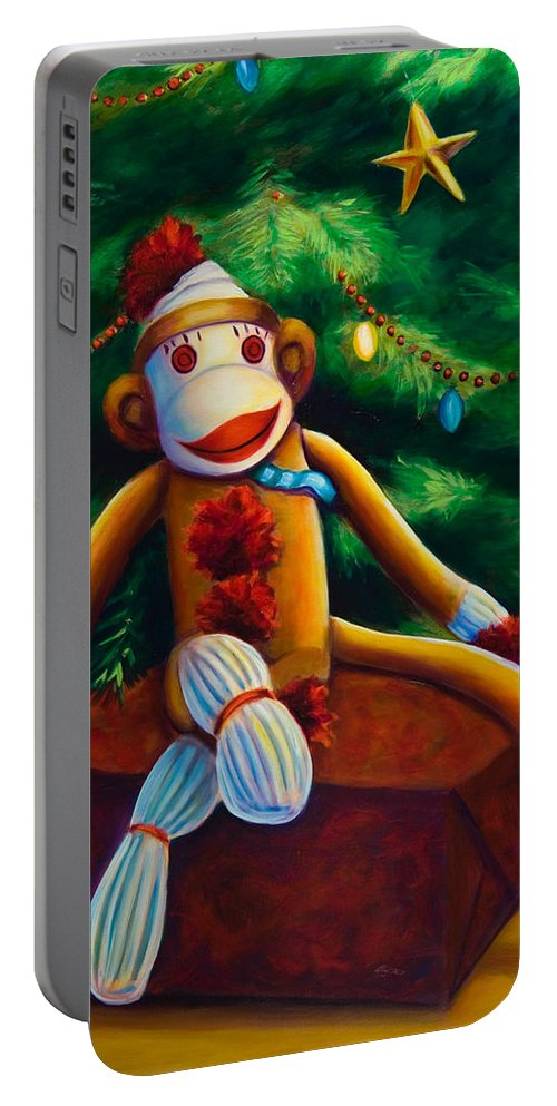 Sock Monkey Portable Battery Charger featuring the painting Christmas Made Of Sockies by Shannon Grissom