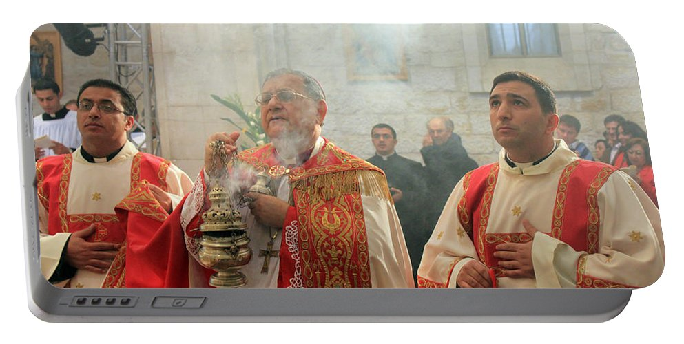 Bethlehem Portable Battery Charger featuring the photograph Christmas Mass 2010 by Munir Alawi
