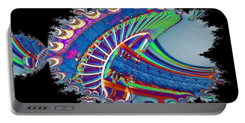 Seattle Portable Battery Charger featuring the digital art Christmas Needle In Fractal by Tim Allen