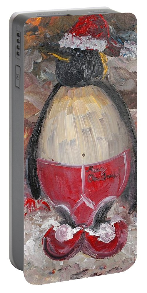 Penguin Portable Battery Charger featuring the painting Christmas Penguin by Nadine Rippelmeyer