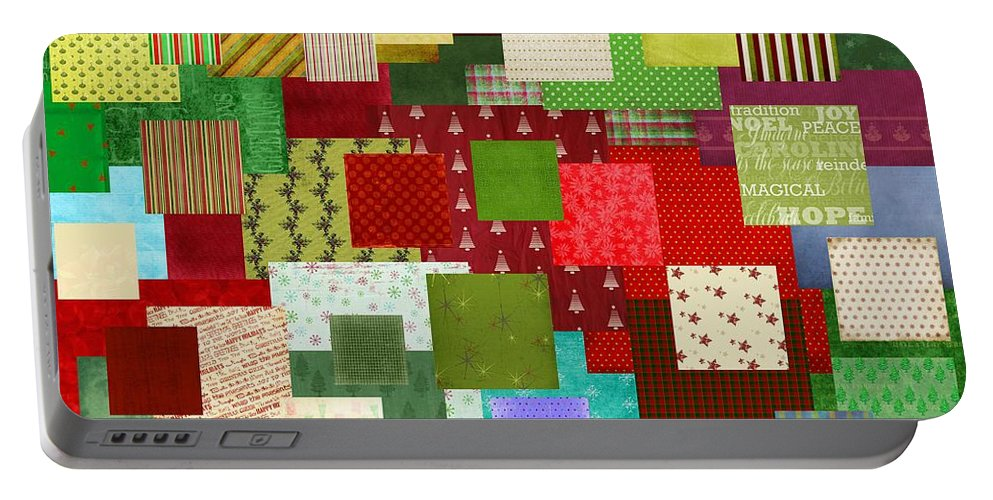 Christmas Portable Battery Charger featuring the digital art Christmas Quilt by Steve Ohlsen