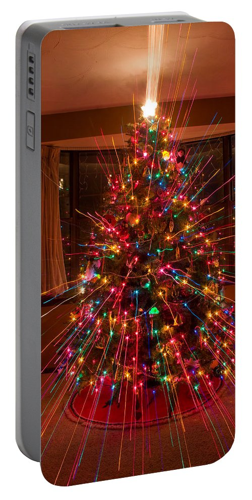 Abstracts Portable Battery Charger featuring the photograph Christmas Tree Light Spikes Colorful Abstract by James BO Insogna