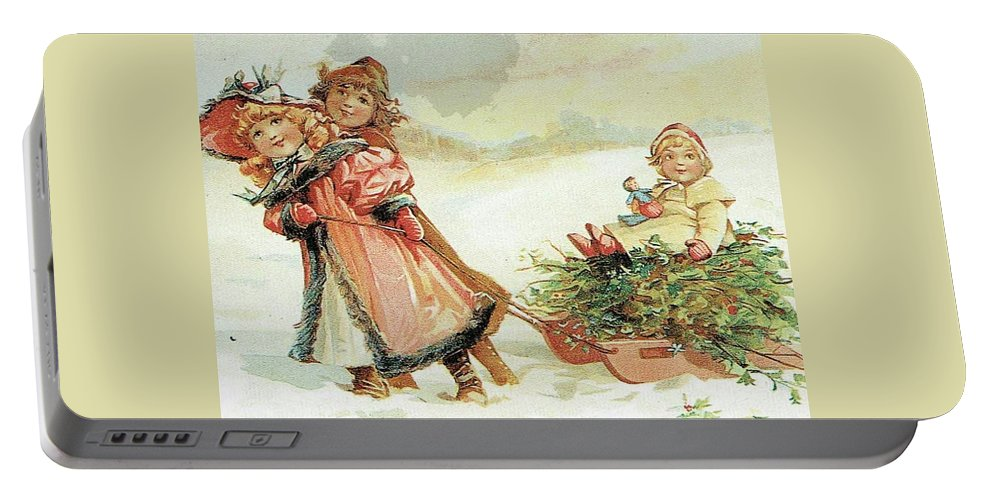 Frances Brundage Portable Battery Charger featuring the painting Christmas Tree by Reynold Jay