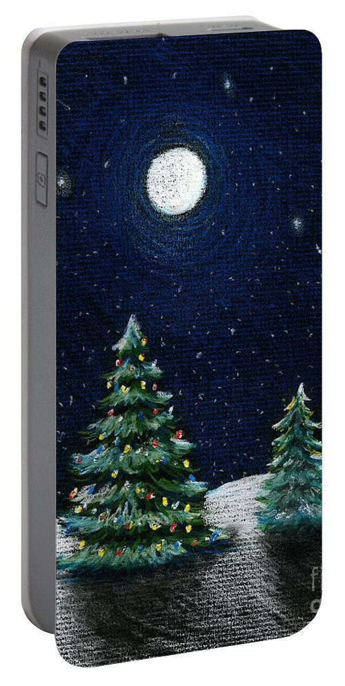 Christmas Trees Portable Battery Charger featuring the drawing Christmas Trees In The Moonlight by Nancy Mueller