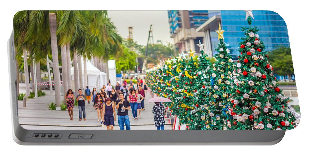 Christmas Portable Battery Charger featuring the photograph Christmas Trees by Jijo George